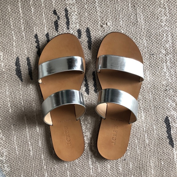 4cbef243f49d5 J. Crew Shoes - J.Crew Malta Mirror Silver Flat Sandals - Size 7.5